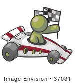 #37031 Clip Art Graphic Of An Olive Green Guy Character Racing A Race Car