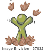 #37032 Clip Art Graphic Of An Olive Green Guy Character Playing In Leaves