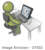#37033 Clip Art Graphic Of An Olive Green Guy Character Using A Computer