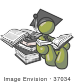 #37034 Clip Art Graphic Of An Olive Green Guy Character Graduate Reading Books