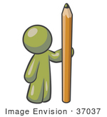 #37037 Clip Art Graphic Of An Olive Green Guy Character Standing With A Pencil