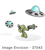#37043 Clip Art Graphic Of An Olive Green Guy Character Fighting Ufos