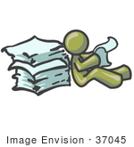 #37045 Clip Art Graphic Of An Olive Green Guy Character Reading Paperwork
