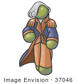 #37046 Clip Art Graphic Of An Olive Green Guy Character As George Washington