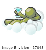 #37048 Clip Art Graphic Of An Olive Green Guy Character Drinking A Cocktail On A Cloud