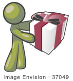 #37049 Clip Art Graphic Of An Olive Green Guy Character Holding A Gift