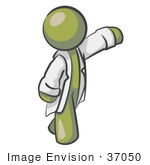 #37050 Clip Art Graphic Of An Olive Green Guy Character In A Lab Coat Pointing