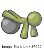 #37052 Clip Art Graphic Of An Olive Green Guy Character Exercising With A Yoga Ball