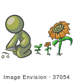 #37054 Clip Art Graphic Of An Olive Green Guy Character Planting Sunflowers