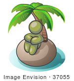 #37055 Clip Art Graphic Of An Olive Green Guy Character On A Deserted Island