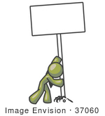 #37060 Clip Art Graphic Of An Olive Green Guy Character Inserting A Post In The Ground