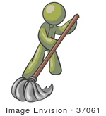 #37061 Clip Art Graphic Of An Olive Green Guy Character Mopping