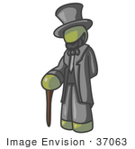 #37063 Clip Art Graphic Of An Olive Green Guy Character As Abraham Lincoln