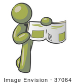 #37064 Clip Art Graphic of an Olive Green Guy Character Holding a Story by Jester Arts