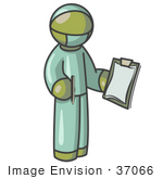 #37066 Clip Art Graphic Of An Olive Green Guy Character Surgeon In Scrubs