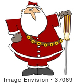 #37069 Clip Art Graphic Of Santa Posing With A Flathead Screwdriver Hand Tool