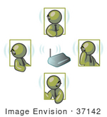 #37142 Clip Art Graphic Of Olive Green Guy Characters With Bluetooth Headsets Having A Phone Conference