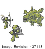 #37148 Clip Art Graphic Of Olive Green Guy Characters Fighting A Dragon