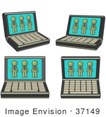 #37149 Clip Art Graphic Of Olive Green Guy Characters On Laptop Screens