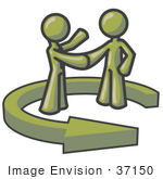 #37150 Clip Art Graphic Of Olive Green Guy Characters Shaking Hands In A Circling Arrow