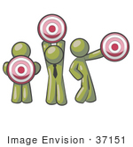 #37151 Clip Art Graphic Of Olive Green Guy Characters Holding Targets