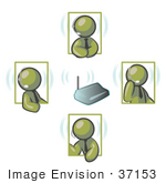 #37153 Clip Art Graphic Of Olive Green Guy Characters Discussing During A Meeting On Headsets