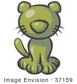 #37159 Clip Art Graphic Of An Olive Green Kitten