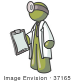 #37165 Clip Art Graphic Of An Olive Green Guy Character Doctor With A Head Lamp