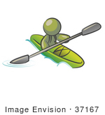 #37167 Clip Art Graphic Of An Olive Green Guy Character Kayaking