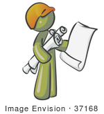 #37168 Clip Art Graphic Of An Olive Green Guy Character Holding Blueprints