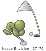 #37170 Clip Art Graphic Of An Olive Green Guy Character Trying To Blow A Golf Ball In A Hole