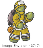 #37171 Clip Art Graphic Of An Olive Green Guy Character Fireman