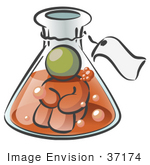#37174 Clip Art Graphic Of An Olive Green Guy Character In A Laboratory Flask