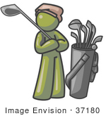 #37180 Clip Art Graphic Of An Olive Green Guy Character Golfing