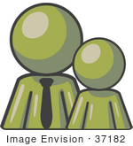 #37182 Clip Art Graphic Of An Olive Green Guy Character With A Child