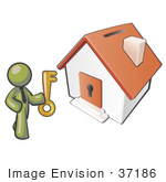 #37186 Clip Art Graphic Of An Olive Green Guy Character Holding A Key To A House