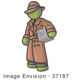 #37187 Clip Art Graphic Of An Olive Green Guy Character Investigator Carrying A Box Of Questions