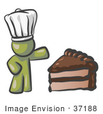 #37188 Clip Art Graphic Of An Olive Green Guy Character Chef With Chocolate Cake