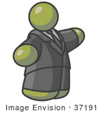 #37191 Clip Art Graphic Of A Fat Olive Green Guy Character Pointing