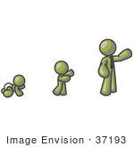 #37193 Clip Art Graphic Of An Olive Green Guy Character Growing From A Baby To An Adult