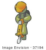 #37194 Clip Art Graphic Of An Olive Green Guy Character Operating A Jack Hammer