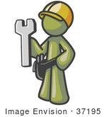 #37195 Clip Art Graphic Of An Olive Green Guy Character Holding A Spanner