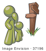 #37196 Clip Art Graphic Of An Olive Green Guy Character And Child At A Crossroads
