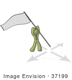 #37199 Clip Art Graphic Of An Olive Green Guy Character Claiming Territory