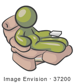 #37200 Clip Art Graphic Of A Chubby Olive Green Guy Character Sitting In A Lazy Chair
