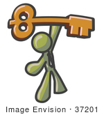 #37201 Clip Art Graphic Of An Olive Green Guy Character Holding A Skeleton Key
