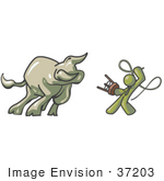 #37203 Clip Art Graphic Of An Olive Green Guy Character Taming A Bull With A Whip
