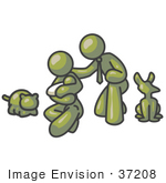 #37208 Clip Art Graphic Of An Olive Green Guy Character Family With A Baby And Pets
