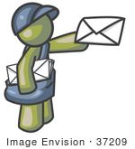 #37209 Clip Art Graphic Of An Olive Green Guy Character Delivering Mail