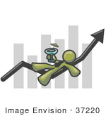 #37220 Clip Art Graphic Of An Olive Green Guy Character Drinking A Cocktail On A Bar Graph